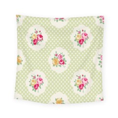 Green Shabby Chic Square Tapestry (small) by 8fugoso
