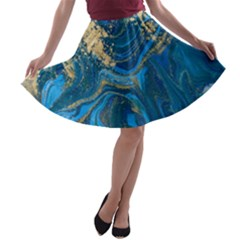 Ocean Blue Gold Marble A Line Skater Skirt by 8fugoso