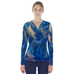 Ocean Blue Gold Marble V Neck Long Sleeve Top by 8fugoso