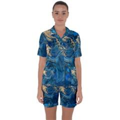 Ocean Blue Gold Marble Satin Short Sleeve Pyjamas Set by 8fugoso