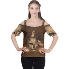 Awesome Skull With Rat On Vintage Background Cutout Shoulder Tee by FantasyWorld7