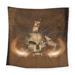 Awesome Skull With Rat On Vintage Background Square Tapestry (large) by FantasyWorld7