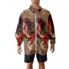 Awesome Horse  With Skull In Red Colors Wind Breaker (kids) by FantasyWorld7