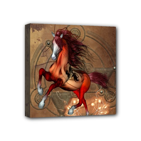Awesome Horse  With Skull In Red Colors Mini Canvas 4  X 4  by FantasyWorld7