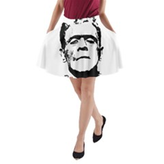 Frankenstein s Monster Halloween A Line Pocket Skirt by Valentinaart
