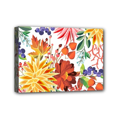 Autumn Flowers Pattern 1 Mini Canvas 7  X 5  by tarastyle