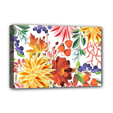 Autumn Flowers Pattern 1 Deluxe Canvas 18  X 12   by tarastyle