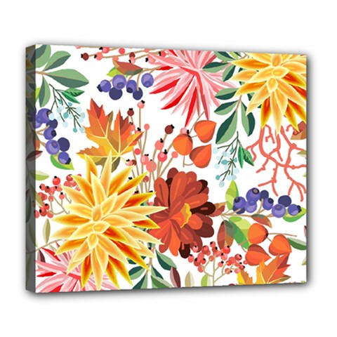 Autumn Flowers Pattern 1 Deluxe Canvas 24  X 20   by tarastyle