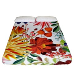 Autumn Flowers Pattern 1 Fitted Sheet (king Size) by tarastyle