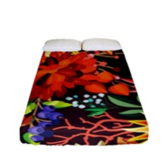 Autumn Flowers Pattern 2 Fitted Sheet (full/ Double Size) by tarastyle