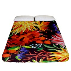 Autumn Flowers Pattern 2 Fitted Sheet (california King Size) by tarastyle