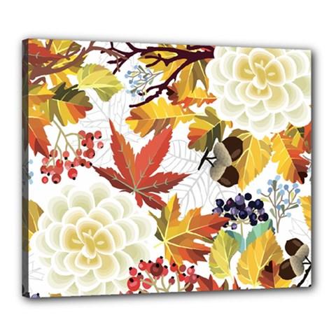 Autumn Flowers Pattern 3 Canvas 24  X 20  by tarastyle