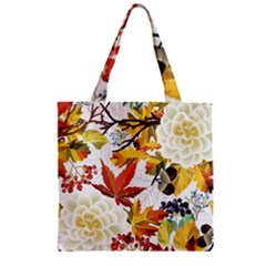 Autumn Flowers Pattern 3 Zipper Grocery Tote Bag by tarastyle