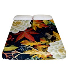 Autumn Flowers Pattern 4 Fitted Sheet (california King Size) by tarastyle