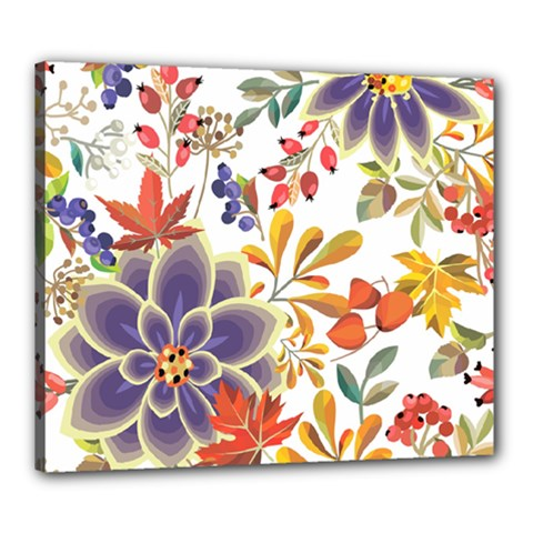 Autumn Flowers Pattern 5 Canvas 24  X 20  by tarastyle