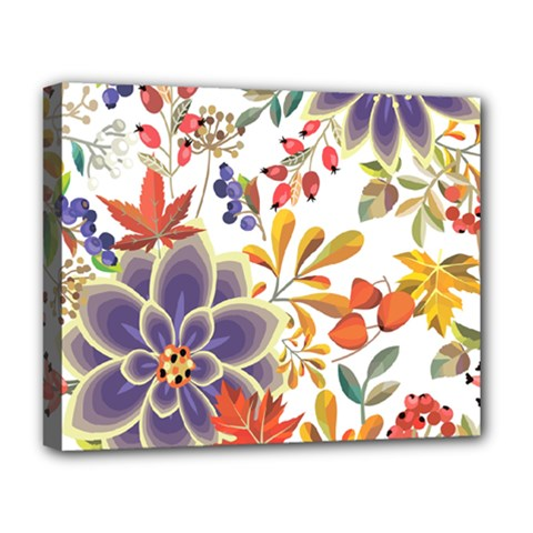 Autumn Flowers Pattern 5 Deluxe Canvas 20  X 16   by tarastyle