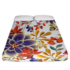 Autumn Flowers Pattern 5 Fitted Sheet (california King Size) by tarastyle