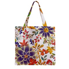 Autumn Flowers Pattern 5 Zipper Grocery Tote Bag by tarastyle