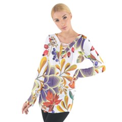 Autumn Flowers Pattern 5 Tie Up Tee