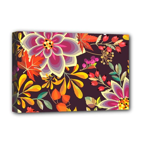 Autumn Flowers Pattern 6 Deluxe Canvas 18  X 12   by tarastyle