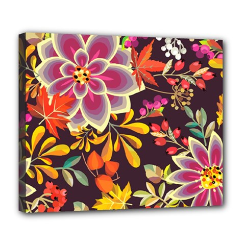 Autumn Flowers Pattern 6 Deluxe Canvas 24  X 20   by tarastyle
