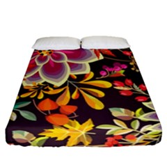 Autumn Flowers Pattern 6 Fitted Sheet (queen Size) by tarastyle