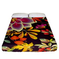 Autumn Flowers Pattern 6 Fitted Sheet (king Size) by tarastyle