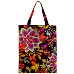 Autumn Flowers Pattern 6 Zipper Classic Tote Bag by tarastyle