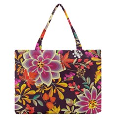 Autumn Flowers Pattern 6 Zipper Medium Tote Bag by tarastyle