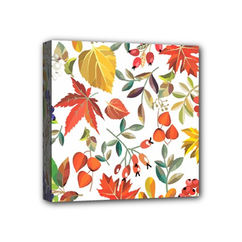 Autumn Flowers Pattern 7 Mini Canvas 4  X 4  by tarastyle