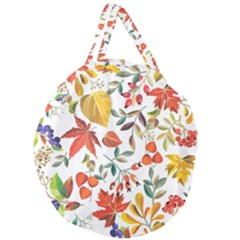 Autumn Flowers Pattern 7 Giant Round Zipper Tote by tarastyle