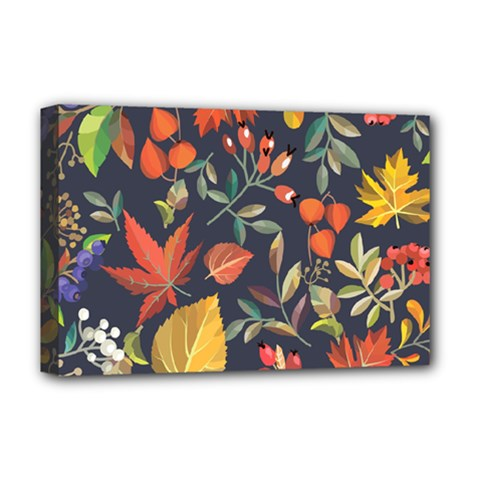 Autumn Flowers Pattern 8 Deluxe Canvas 18  X 12   by tarastyle