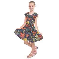 Autumn Flowers Pattern 8 Kids  Short Sleeve Dress