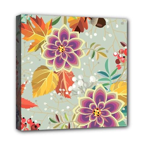 Autumn Flowers Pattern 9 Mini Canvas 8  X 8  by tarastyle