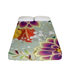 Autumn Flowers Pattern 9 Fitted Sheet (full/ Double Size) by tarastyle