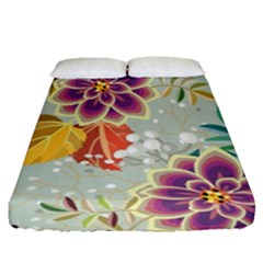 Autumn Flowers Pattern 9 Fitted Sheet (queen Size) by tarastyle