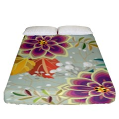 Autumn Flowers Pattern 9 Fitted Sheet (king Size) by tarastyle