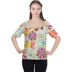 Autumn Flowers Pattern 9 Cutout Shoulder Tee by tarastyle