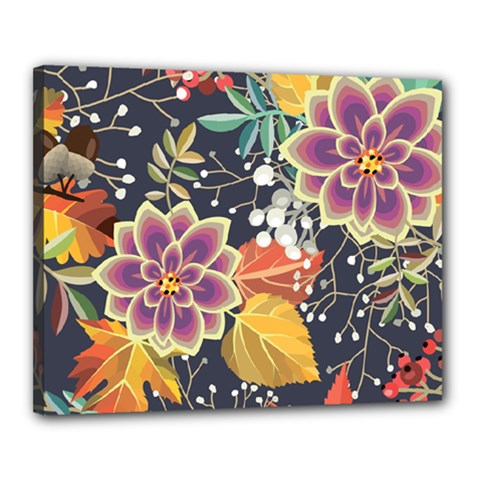 Autumn Flowers Pattern 10 Canvas 20  X 16  by tarastyle