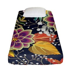 Autumn Flowers Pattern 10 Fitted Sheet (single Size) by tarastyle