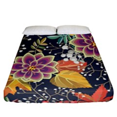 Autumn Flowers Pattern 10 Fitted Sheet (california King Size) by tarastyle