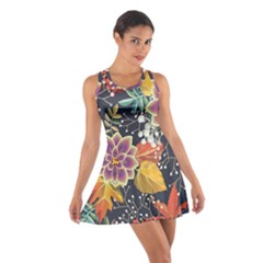 Autumn Flowers Pattern 10 Cotton Racerback Dress