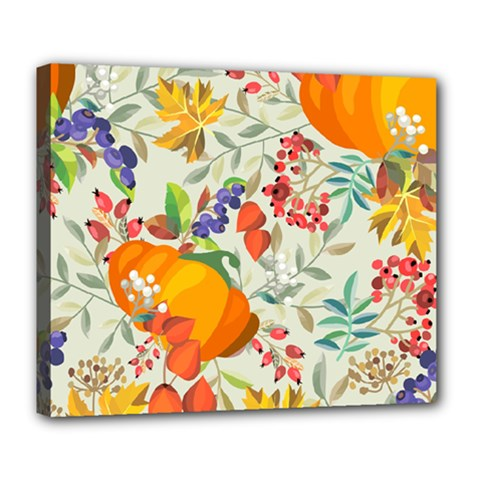Autumn Flowers Pattern 11 Deluxe Canvas 24  X 20   by tarastyle