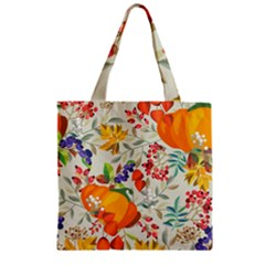 Autumn Flowers Pattern 11 Zipper Grocery Tote Bag by tarastyle