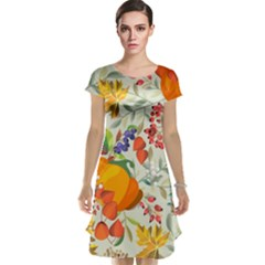 Autumn Flowers Pattern 11 Cap Sleeve Nightdress