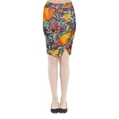 Autumn Flowers Pattern 12 Midi Wrap Pencil Skirt