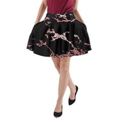 Luxurious Pink Marble 2 A Line Pocket Skirt