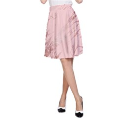 Luxurious Pink Marble 3 A Line Skirt
