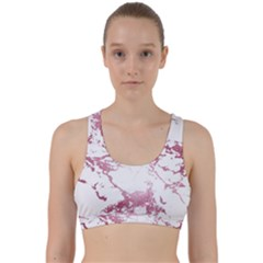 Luxurious Pink Marble 4 Back Weave Sports Bra