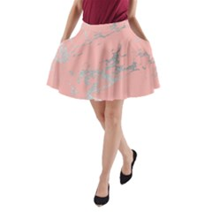 Luxurious Pink Marble 6 A Line Pocket Skirt by tarastyle
